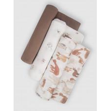 """Набор муслиновых пеленок для новорожденных """"Brown Alpaca"""",  120х120, 3шт,  Firstday, ТУ"""